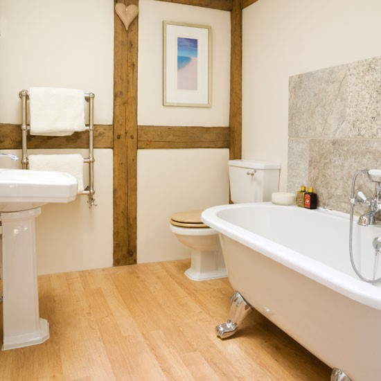 White Country Bathroom Simple Bathroom Design Beams Image