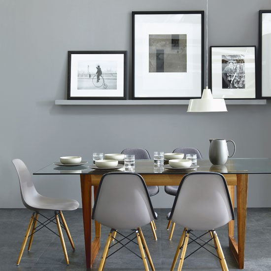 Chic grey dining room simple dining room for Dining room ideas grey