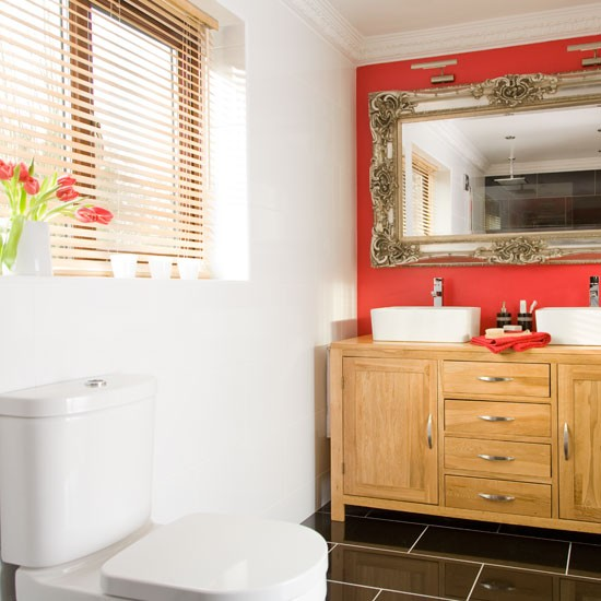 Vibrant red bathroom makeover be inspired housetohome for Ideal home bathroom ideas