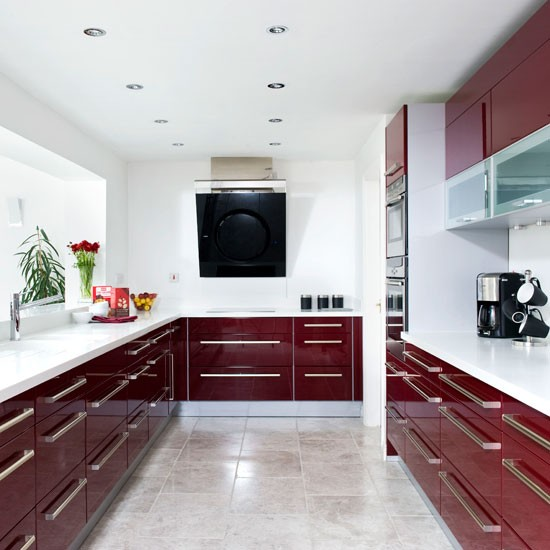 Kitchen Design High Gloss: Modern Burgundy Kitchen Tour