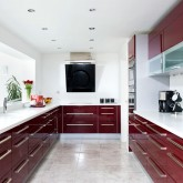 Take a look inside this modern burgundy kitchen