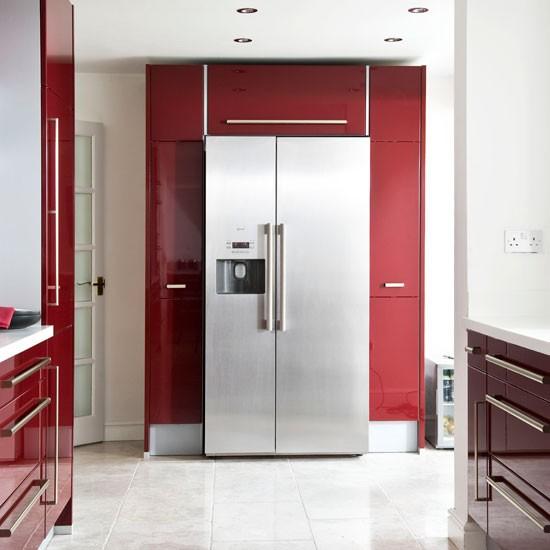 American style fridge freezer modern burgundy kitchen for Modern american kitchen designs