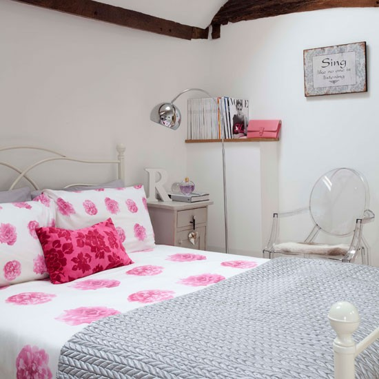 Small Guest bedroom with pink accents
