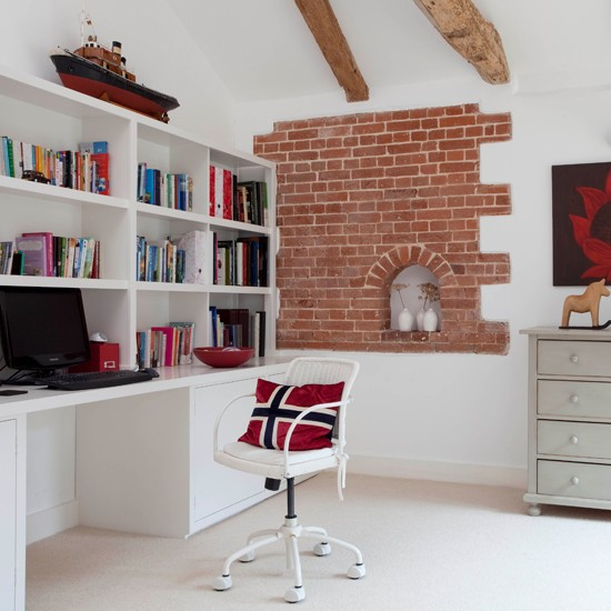 Beautiful And Ergonomic Home Office With Small Storage: Fitted Storage And Desk Unit In Home Office