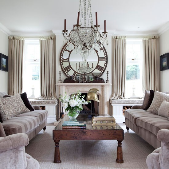 Opulent living room | Living room idea | Round mirror | Image | Housetohome
