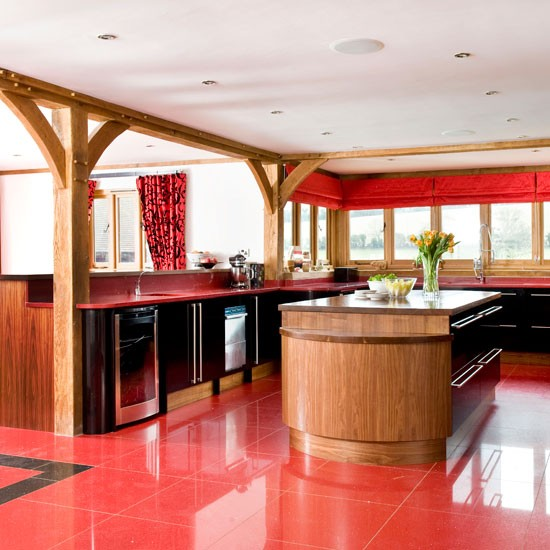 Open Plan Kitchen Modern Red Kitchen Beautiful Kitchens Tour Bed
