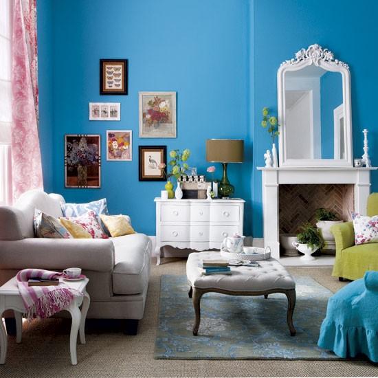 bold blue living room modern living room