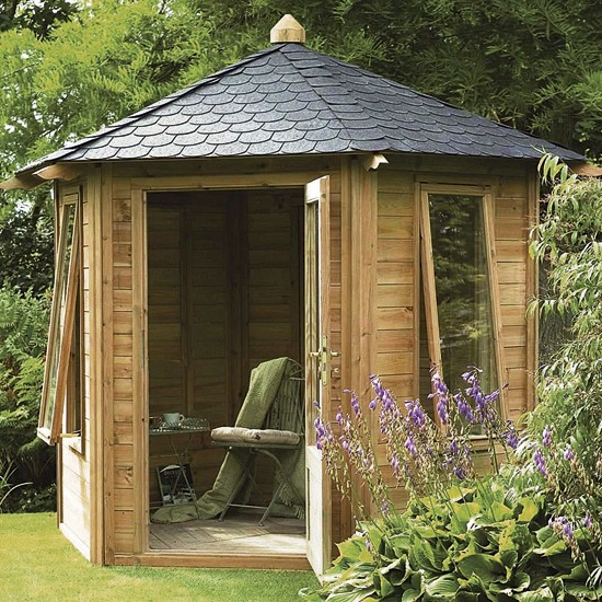 Caversham summerhouse from b q how to buy sheds and for Garden designs with summer house