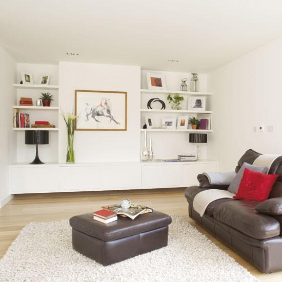 Contemporary oak living room for Alcove ideas living room