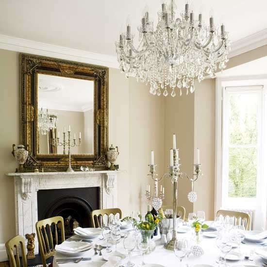 Grand chandelier elegant dining rooms 10 of the best for Dining room lighting uk