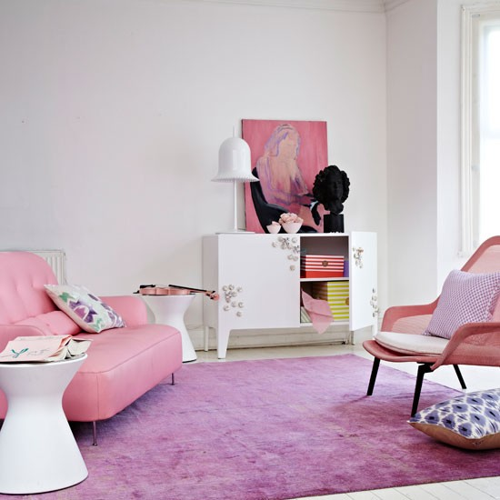 Soft pink living room | Living room decoarating idea | Colourful decorating idea | Image | Housetohome