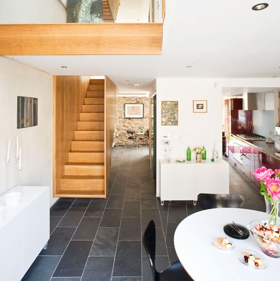 Open plan living space contemporary victorian warehouse conversion tour for Open plan hallway and living room
