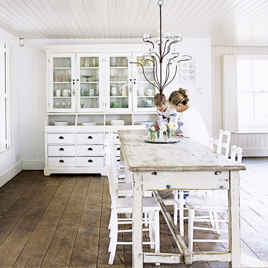 White kitchen dining table and dresser