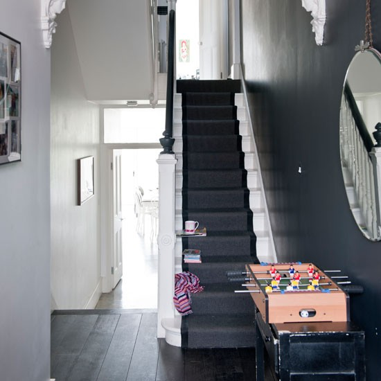 black and white hallway hallway idea