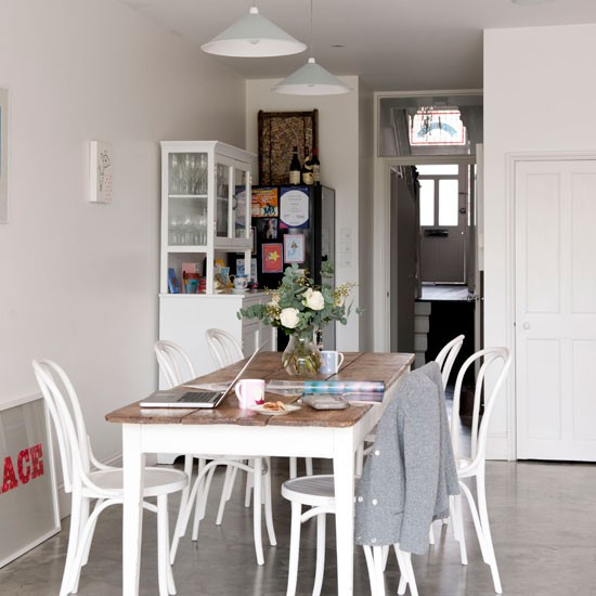 Sleek white dining room dining room idea for Kitchen dining room ideas uk