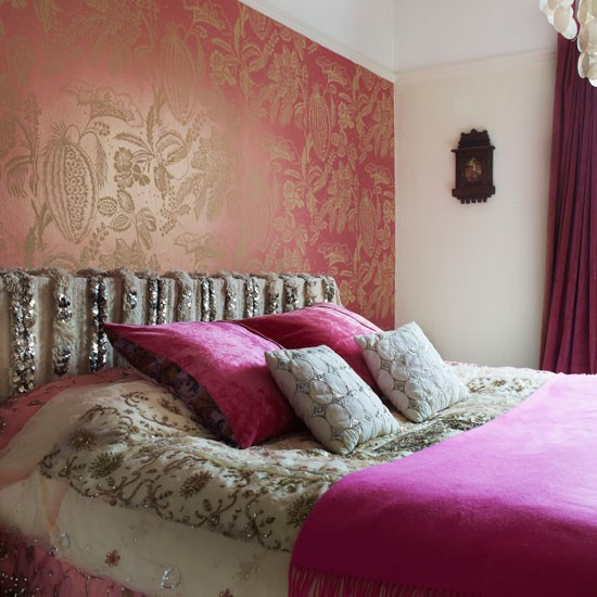 Ethnic-inspired bedroom | Bedroom idea | Metallic wallpaper | Image | Housetohome