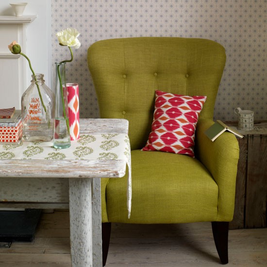 Living room with patterned furnishings   Colourful upholstery   Patterned tableware   Image   Housetohome