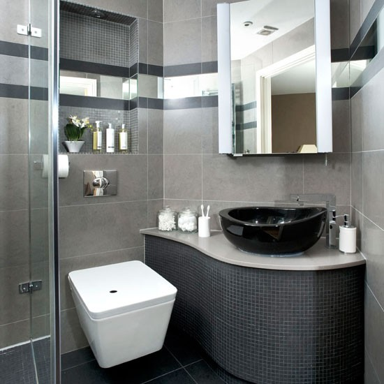 Sleek grey bathroom makeover | Curved vanity unit | Modern grey shower room | Ideal Home bathroom makeover | PHOTO GALLERY | Housetohome