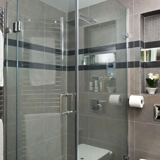 Charcoal grey color bathroom designs home decorating for Bathroom ideas grey tiles