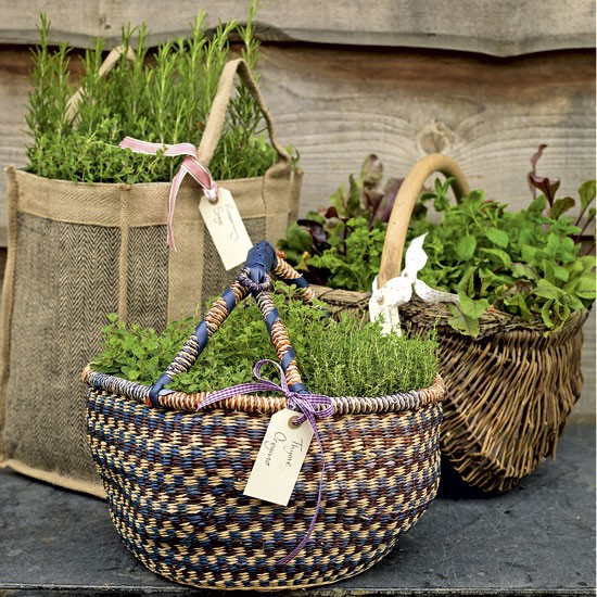 Garden herb baskets | Garden design | Wicker baskets | Planting | image | Housetohome