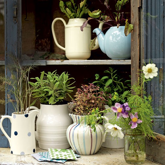 Decorative garden jugs | Garden design | Colourful jugs | Image | Housetohome