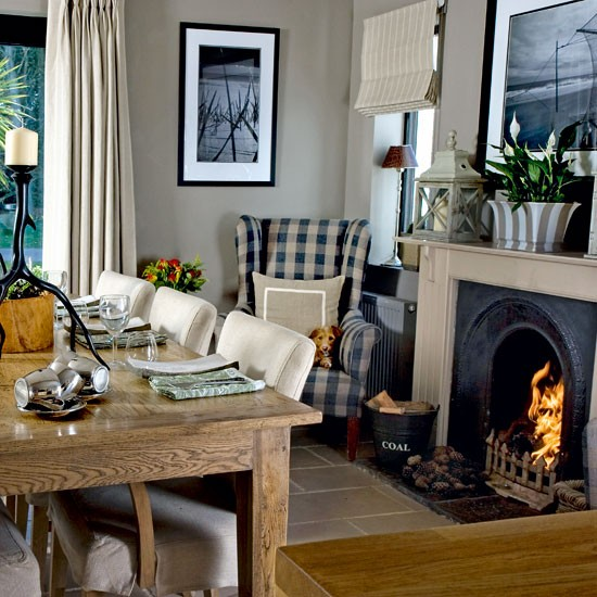 Dining room with roaring fire step inside a cosy for Country kitchen dining room ideas
