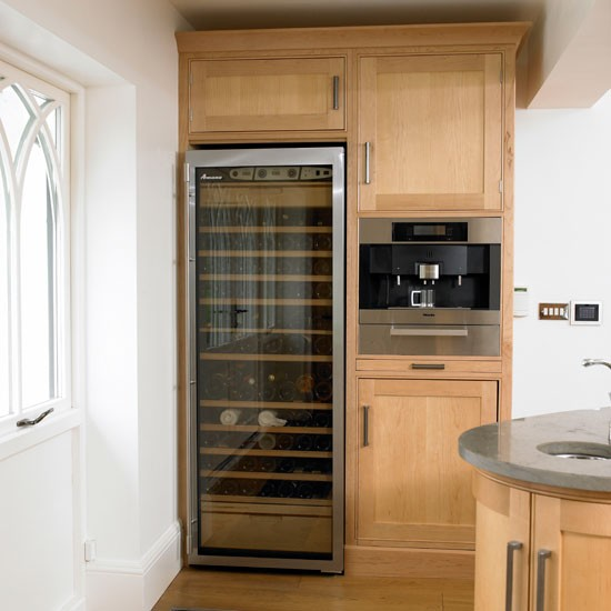 Wine cooler and coffee maker classic farmhouse kitchen - Kitchens with wine coolers ...