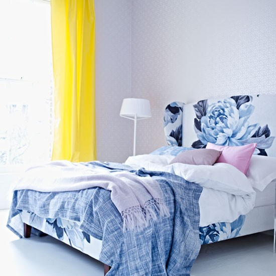 Blue graphic bedroom | Yellow curtain | Bedroom design | Image | Housetohome