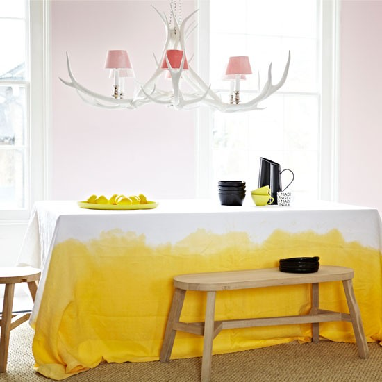 Dining room with yellow accents | Dining room | Tablecloth | Image | Housetohome
