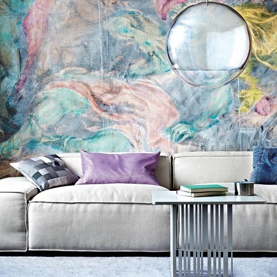 Living room mural | Watercolour mural | Living room design | Image | Housetohome