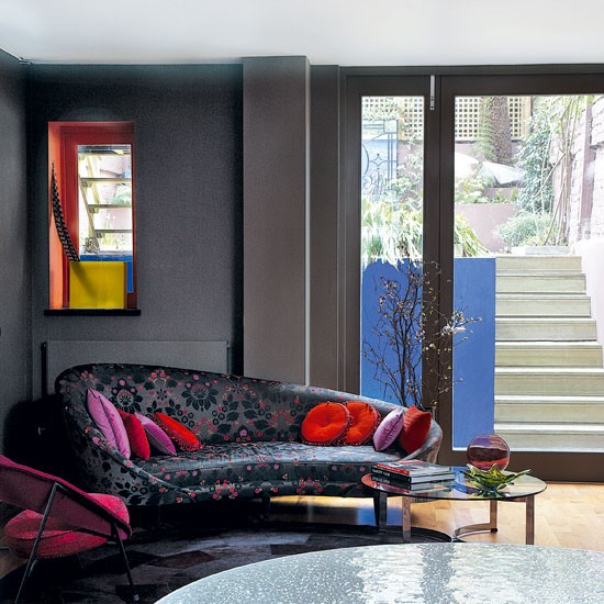 Dark open-plan living room | Printed sofa | Living room idea | Image | Housetohome