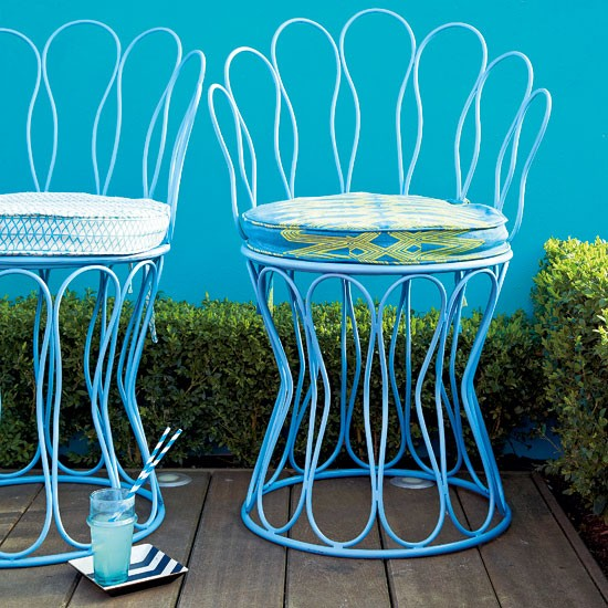 Bold blue patio with wraught iron chairs | Patio design ideas | Gardens | PHOTO GALLERY | Housetohome.co.uk