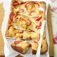 Plum and white chocolate tray bake