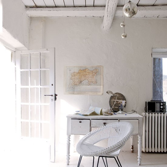 Vintage-style white home office   Rattan chair   Home office idea   Coastal living   Image   Housetohome