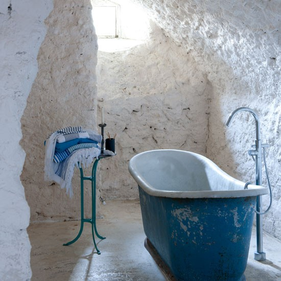 Mediterranean stone bathroom | Stone wall | Bathroom idea | Coastal living | Image | Housetohome