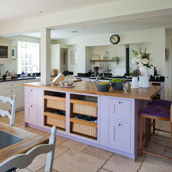 Purple kitchen island | Island unit | Kitchen idea | Countryside retreat | Image | Housetohome
