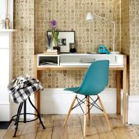 Lettered wallpaper home office