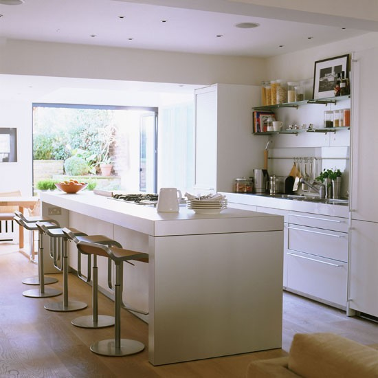 Kitchen breakfast bar take a tour of this contemporary for Breakfast bar ideas for kitchen
