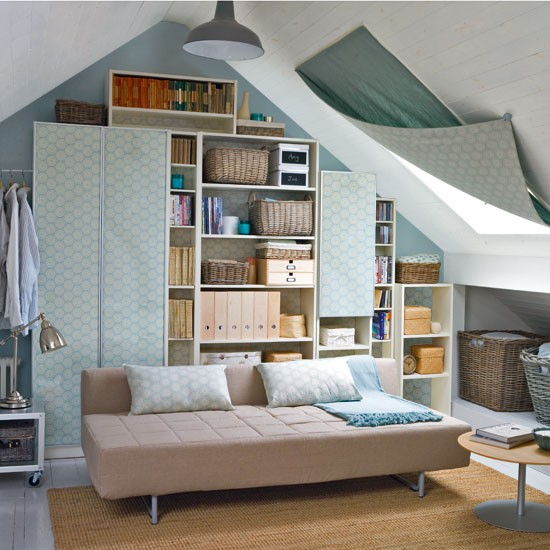 Attic works space saving attic living room for Space saver living room designs