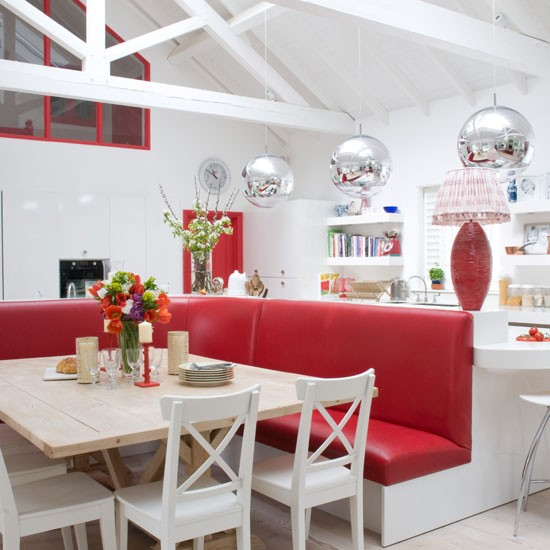 Red and white kitchen diner bold red colour schemes for Red and white country kitchen ideas