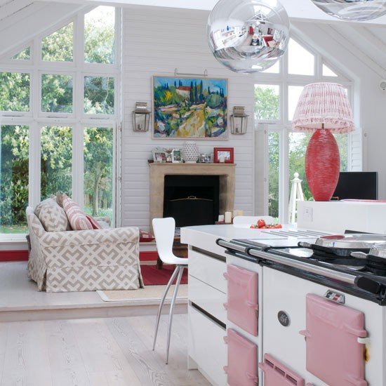 Pink kitchen with aga | Fireplace | Kitchen-diner | Image | Housetohome
