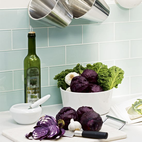 Blue kitchen tiles | Modern purple kitchen | Kitchen tour | PHOTO GALLERY | Housetohome