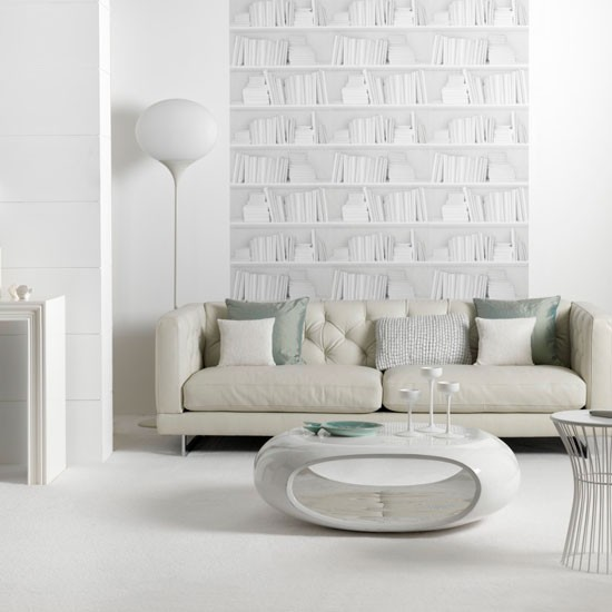 white living room  Leather sofa  Living room idea  Modern white ...
