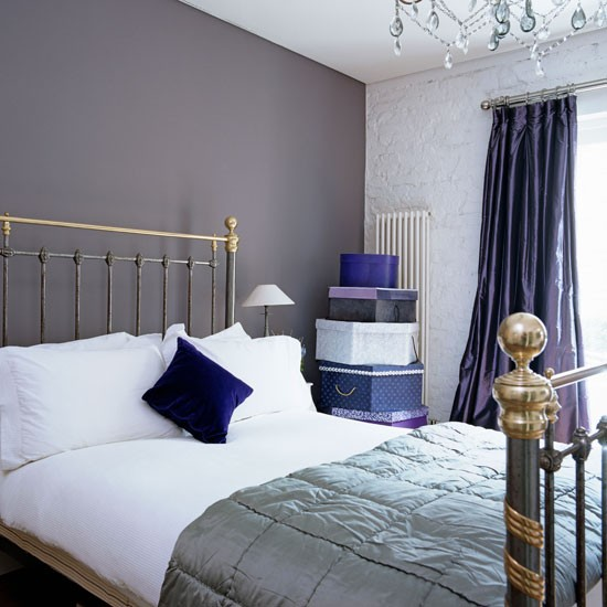 Guest bedroom step inside a modern arts and crafts home for Purple and silver bedroom designs