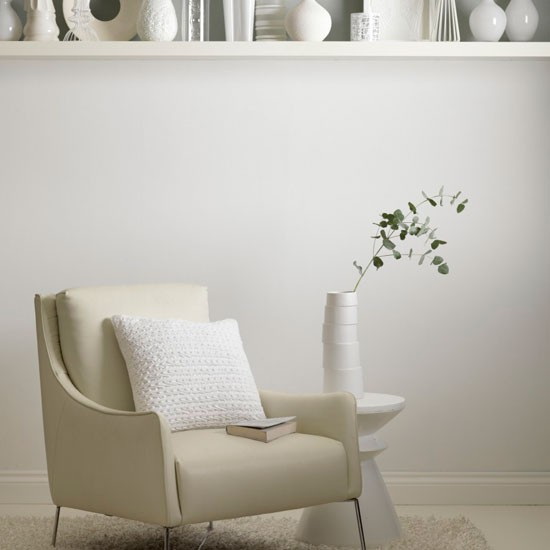 White living room chair  Leather sofa  Living room idea  Modern ...