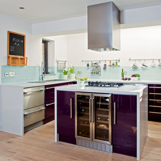 Sleek Kitchen Design: Sleek Purple Kitchen