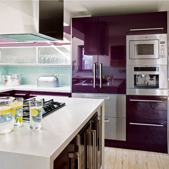 Contemporary purple kitchen  Kitchen design idea  housetohome co uk