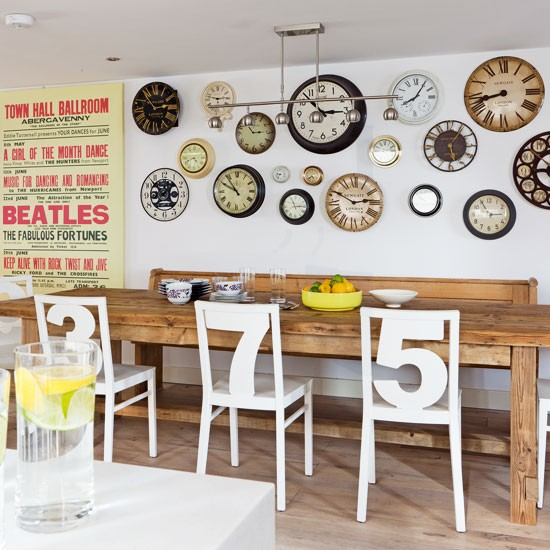 This kitchendiner area has a quirky feel, thanks to the display of