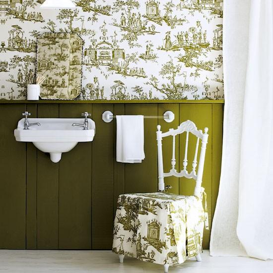 Wallpaper above the dado design ideas decorating with toile - Toile bathroom decor ...