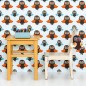 Children's bedroom with owl design wallpaper, wooden table and chair